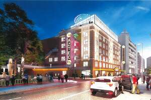 Design renderings submitted to the city of San Antonio Jan. 17, 2018, show a proposed hotel to be built in several floors of the Aztec Theatre building. The live music venue will remain, according to a local developer.