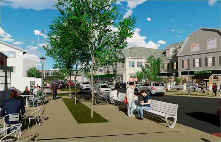 "A rendering of proposed redevelopment in the Saugatuck area of Westport, looking across Stroffolino Park toward proposed redevelopment of Lots 1 and 2. Prepared by Barton Partners as part of the ""Saugatuck: A Gateway to Westport,"" draft plan. Photo: Contributed Photo /"