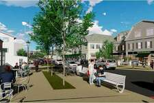 """A rendering of proposed redevelopment in the Saugatuck area of Westport, looking across Stroffolino Park toward proposed redevelopment of Lots 1 and 2. Prepared by Barton Partners as part of the """"Saugatuck: A Gateway to Westport,"""" draft plan."""