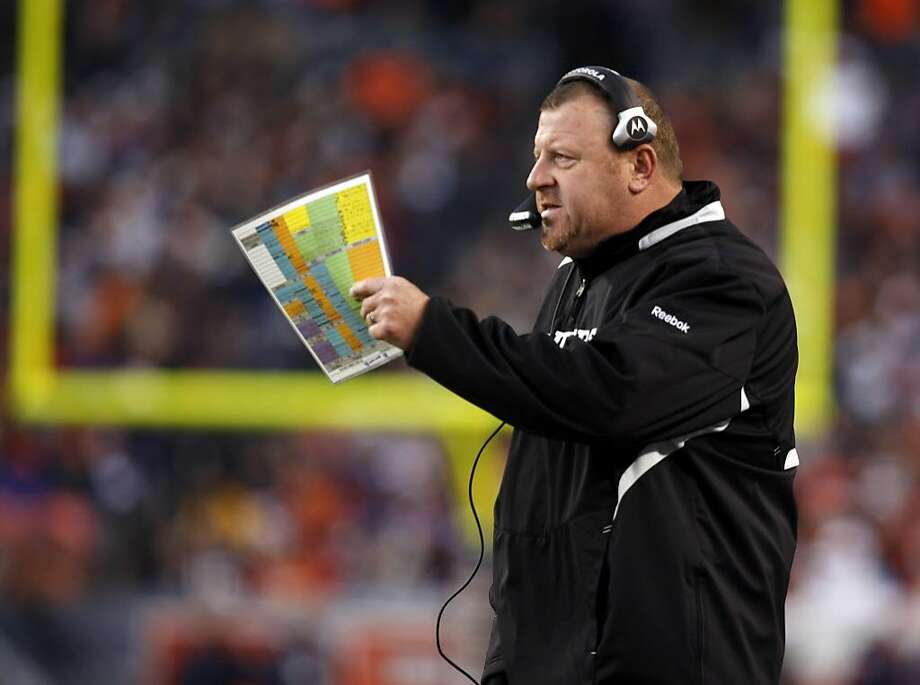 Former Oakland Raiders head coach Tom Cable directs his team against the Denver Broncos during his previous stint with the Raiders.  Photo: David Zalubowski, AP