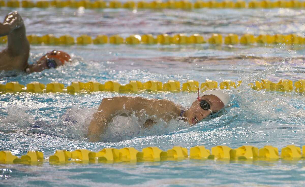 Midland High's Celeste Garza competes 01/18/18 in the girls 200 yard freestyle, taking first place with a time of 1:59.97. Tim Fischer/Reporter-Telegram