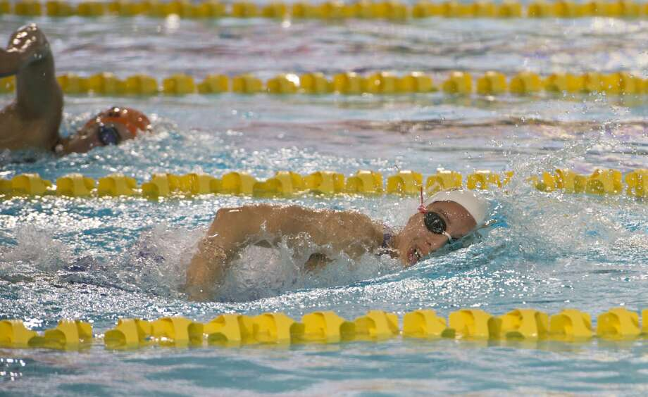 Midland High's Celeste Garza competes 01/18/18 in the girls 200 yard freestyle, taking first place with a time of 1:59.97. Tim Fischer/Reporter-Telegram Photo: Tim Fischer/Midland Reporter-Telegram