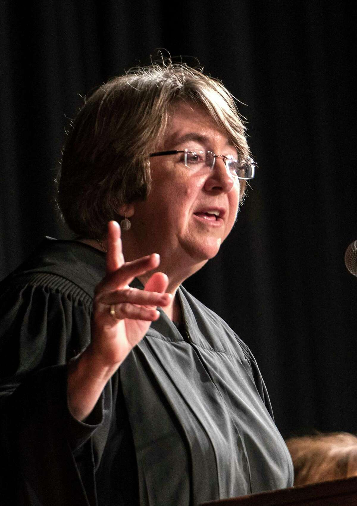 Hon. Elizabeth A. Garry, Presiding Justice New York State Supreme Court, Appellate Division, Third Department welcomes the 747 new attorneys of the New York State Bar at a ceremony held at the Convention Center at the Empire State Plaza Thursday Jan 17, 2018 in Albany, N.Y. (Skip Dickstein/ Times Union)