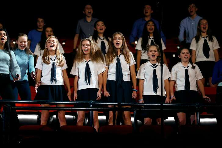 """A youth choir sings a song from """"Dear Evan Hansen"""" as The Curran Theatre announces its four show 2018 main stage season in San Francisco, Calif., on Wednesday, January 17, 2018."""