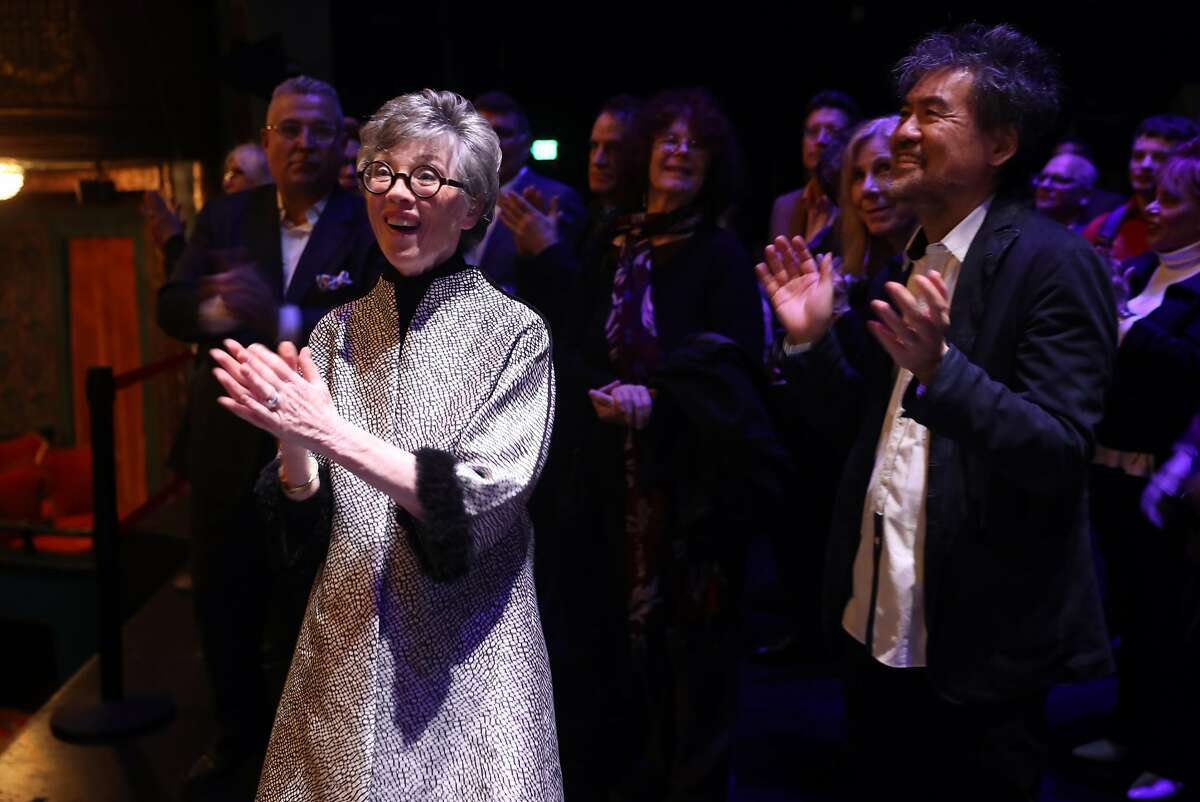 """Carole Shorenstein Hays and David Henry Hwang applaud after a youth choir sang a song from """"Dear Evan Hansen"""" as The Curran Theatre announces its four show 2018 main stage season in San Francisco, Calif., on Wednesday, January 17, 2018."""