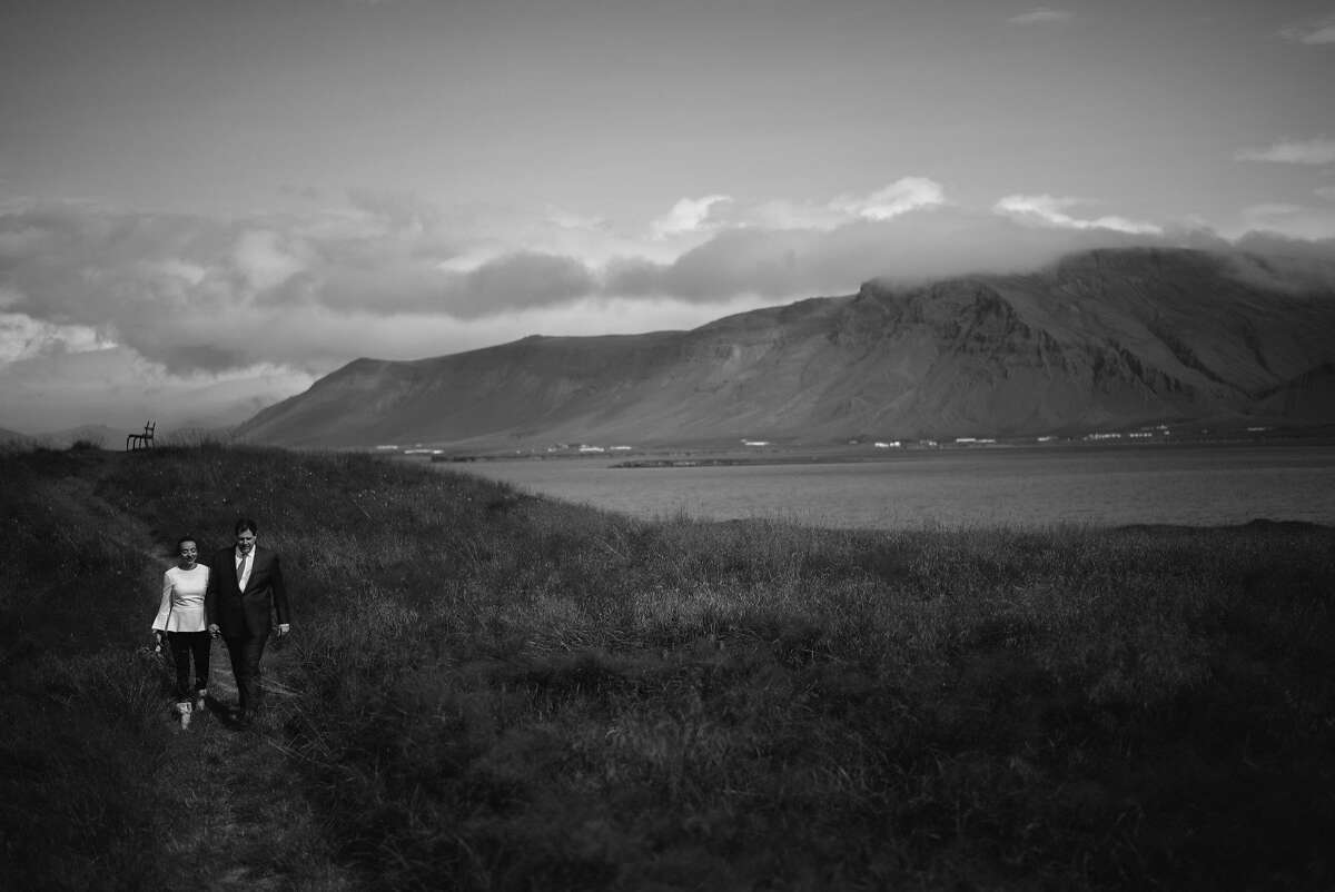 San Francisco society photographer Drew Altizer and publishing house managing editor Camille Hayes wed in an intimate ceremony with immediate family on a small island off Iceland on Aug. 18, 2017.