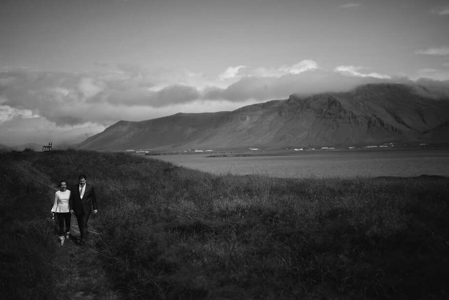 San Francisco society photographer Drew Altizer and publishing house managing editor Camille Hayes wed in an intimate ceremony with immediate family on a small island off Iceland on Aug. 18, 2017. Photo: Toader Photography