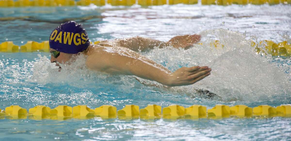 Midland High's Braden Vines competes 01/18/18 in the boys 200 yard IM, taking first place with a time of 1:51.97. Tim Fischer/Reporter-Telegram