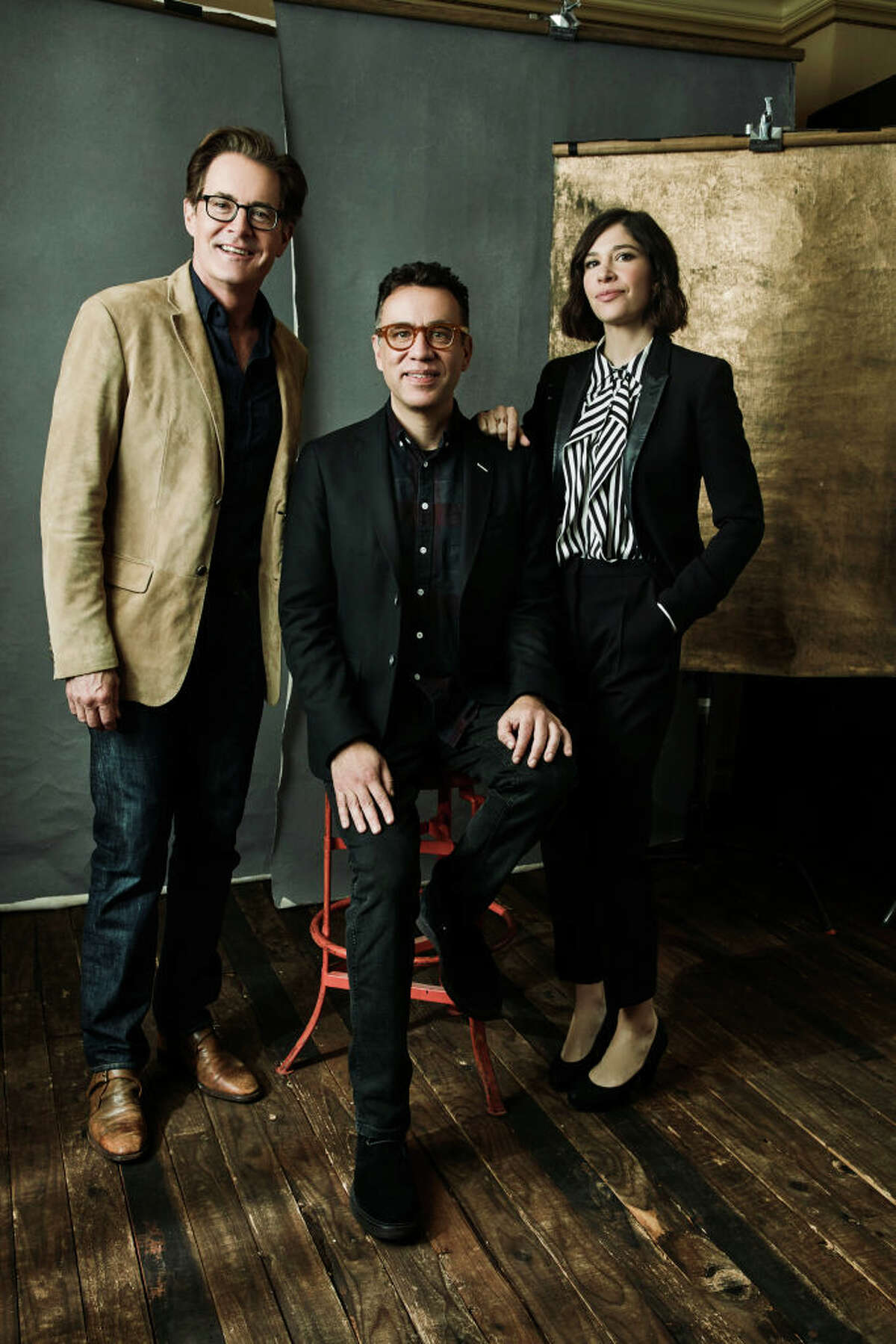 PASADENA, CA - JANUARY 12: (EDITORS NOTE: Image has been processed using a digital filter) Kyle McLachlan, Fred Armisen and Carrie Brownstein of IFC's 'Portlandia' pose for a portrait during the 2018 Winter TCA Tour at Langham Hotel on January 12, 2018 in Pasadena, California. (Photo by Maarten de Boer/Getty Images)