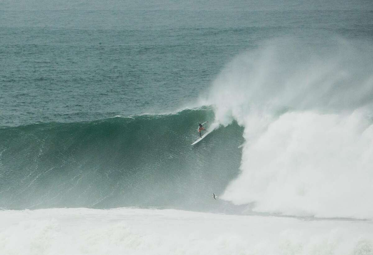 Big wave surfers challenge Mavericks on a 40 to 50 foot day at Pillar Point in Princeton-by-the-Sea, Calif. Thursday, January 18, 2018. Brian Feulner, Special to SFGATE