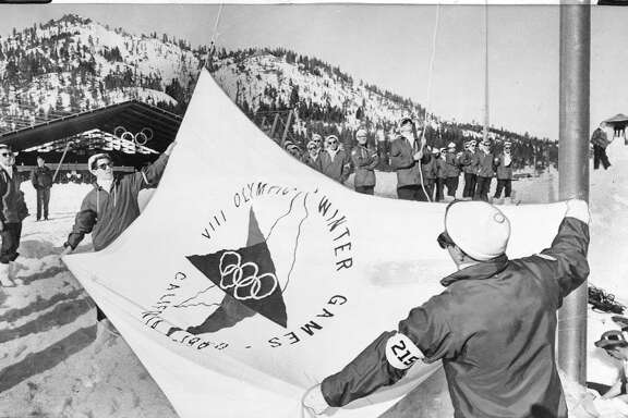 the 1960 Winter Olympic Games in Squaw Valley  Boy Scouts practice flag-raising in preparation for Opening Ceremonies on Thursday Associated Press Photo, February 216, 1960 Photo ran 02/16/1960, P. 33