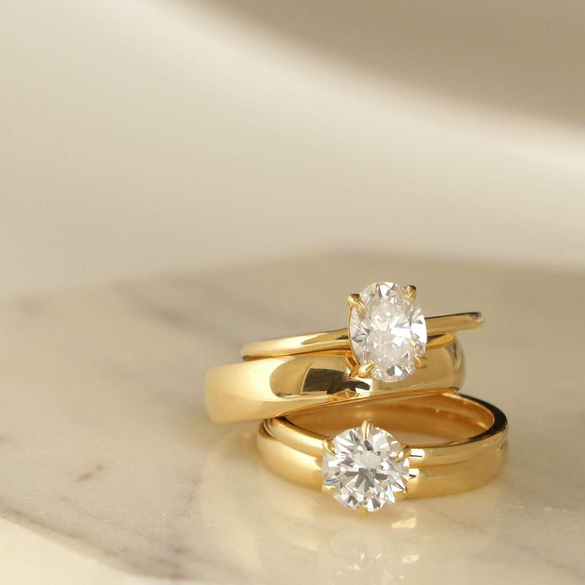 Vrai & Oro, started by Vanessa Stofenmacher, was acquired by Diamond Foundry a year ago. These rings, produced in San Francisco from lab-grown diamonds, are part of the Vrai & Oro Wedding�collection.