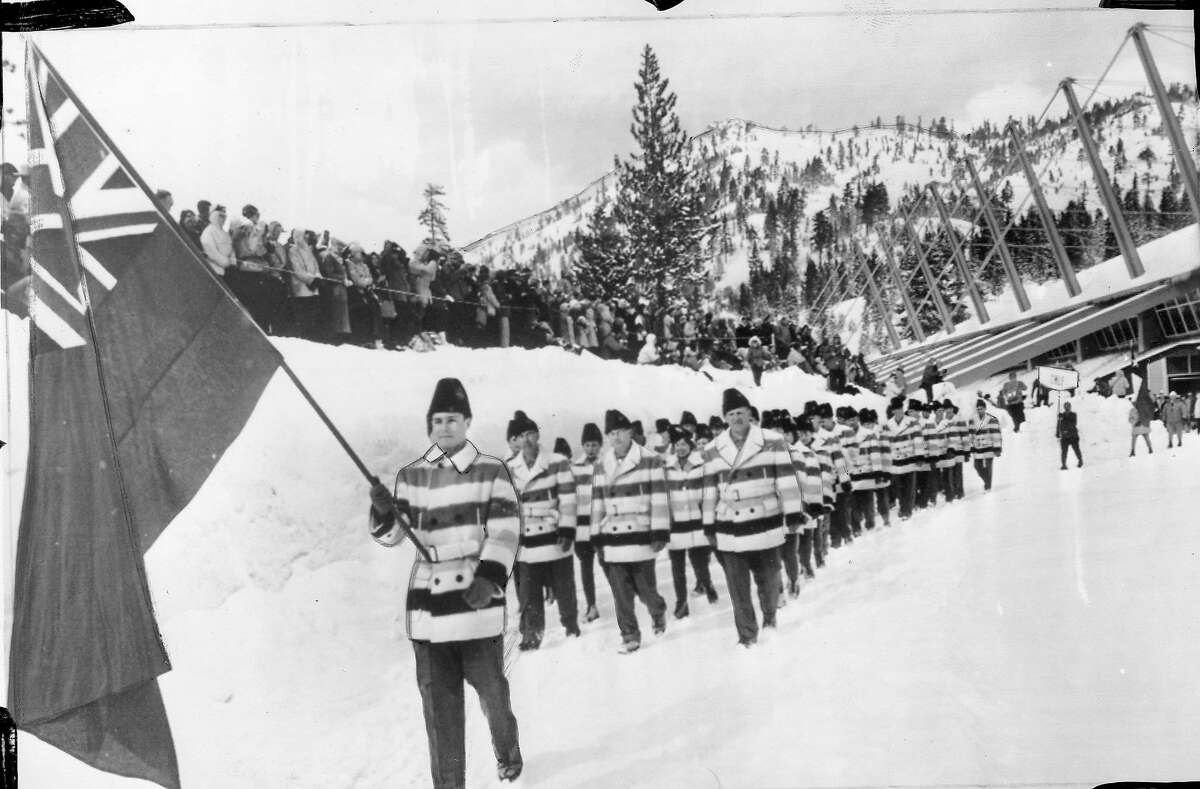 The 1960 Winter Olympic Games in Squaw Valley Opening ceremonies as the Canadian athletes parade around the speed skating rin. February 18, 1960 Associated Press photo Photo ran 02/21/1960, p. 15 This World