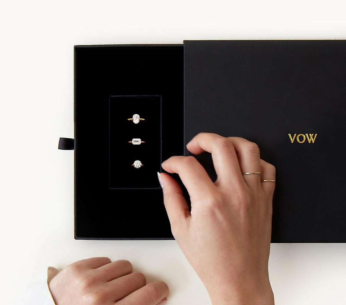Vanessa Stofenmacher�recently launched�VOW�(Vrai & Oro Wedding), an engagement ring offering with a�Warby Parker-esque approach: they send a �mock box� with three sample rings to try at home. The diamonds are produced by the Diamond Foundry in San Francisco, and are conflict-free.