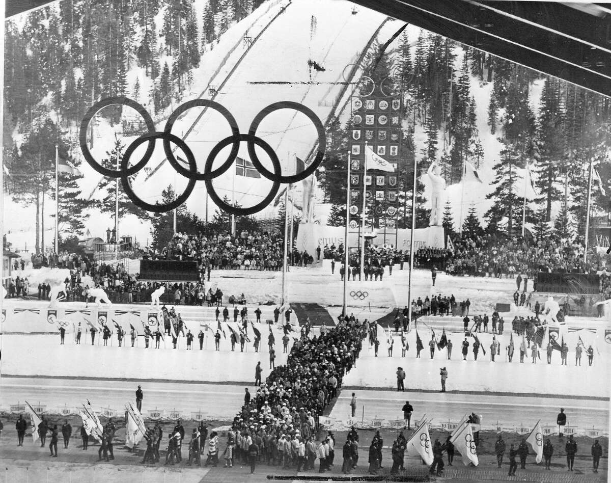 The 1960 Winter Olympic Games in Squaw Valley Parade of Athletes during the closing ceremonies. Instead of marching by country, all of the athletes are intermingled February28, 1960 Associated Press photo