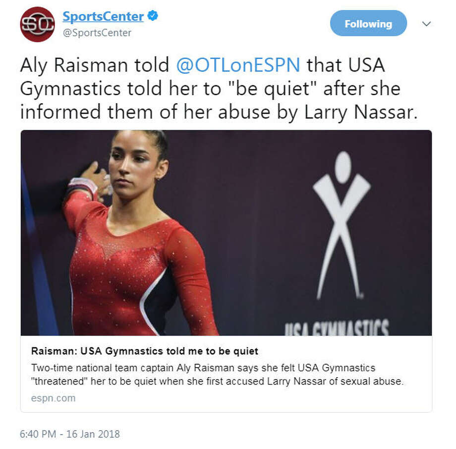 The entire U.S. gymnastics hierarchy should be banished forever and Nassar must spend the rest of his filthy life in jail, hopefully housed with some really bad folks. What an odious story. Shame, shame on them all. Photo: Twitter