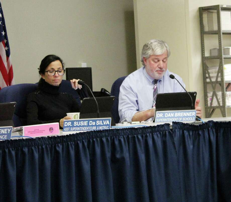 Assistant Superintendent Susie daSilva and Superintendent Dan  Brenner go over the proposed 2018-19  school budget at a Board of Education  meeting in Darien on Jan. 16. Photo: Erin Kayata / Hearst Connecticut Media / Darien News