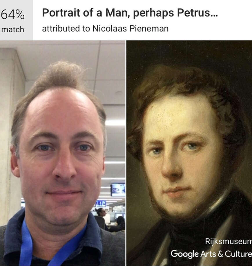 Using Google's Arts & Culture app art critic Sebastian Smee gets a 64 percent match with a portrait attributed to Nicolaas Pieneman in Amsterdam's Rijksmuseum