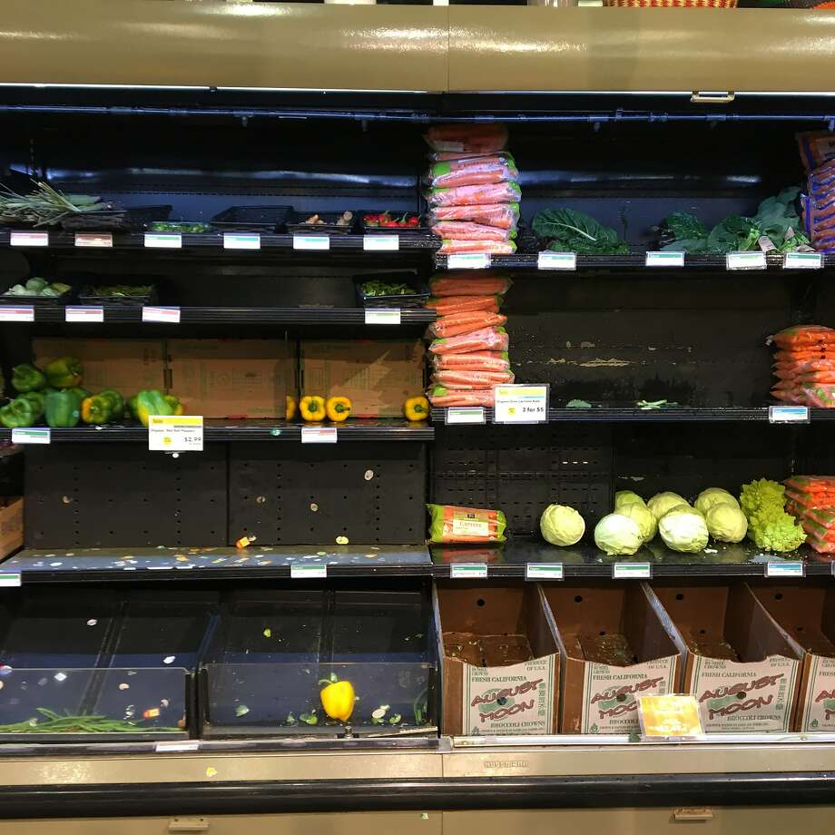 The Whole Foods store on Stanyan Street in the Haight-Ashbury neighborhood had empty shelves on the weekend, which seems to be a recent pattern. Photo: Jonathan Kauffman, San Francisco Chronicle