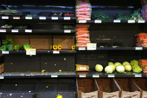 The Whole Foods store in San Francisco's Haight-Ashbury district showed empty shelves this weekend. Some store employees have blamed an upgrade of the chain's inventory-management systems.