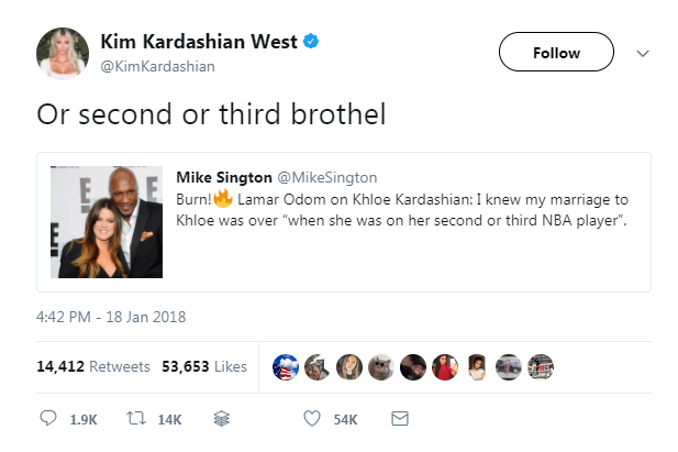 Kim Kardashian just hardcore burned Khloe's ex-husband, Lamar Odom on Twitter