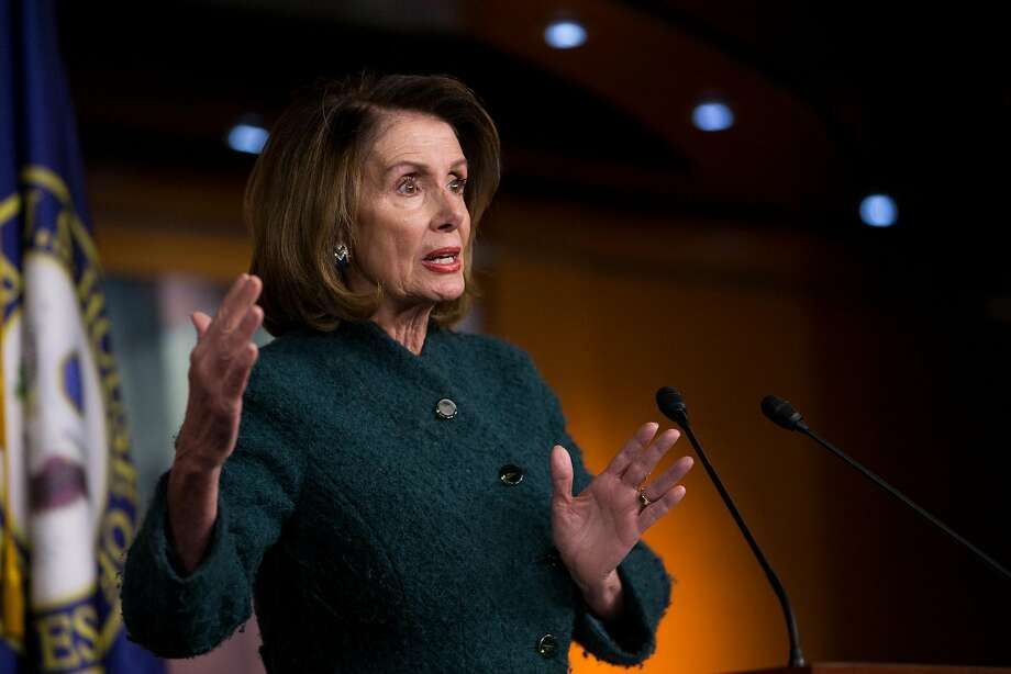 House Minority Leader Nancy Pelosi (D-Calif.) speaks at a news conference on Capitol Hill in Washington, Jan. 18, 2018. Photo: ERIN SCHAFF, NYT