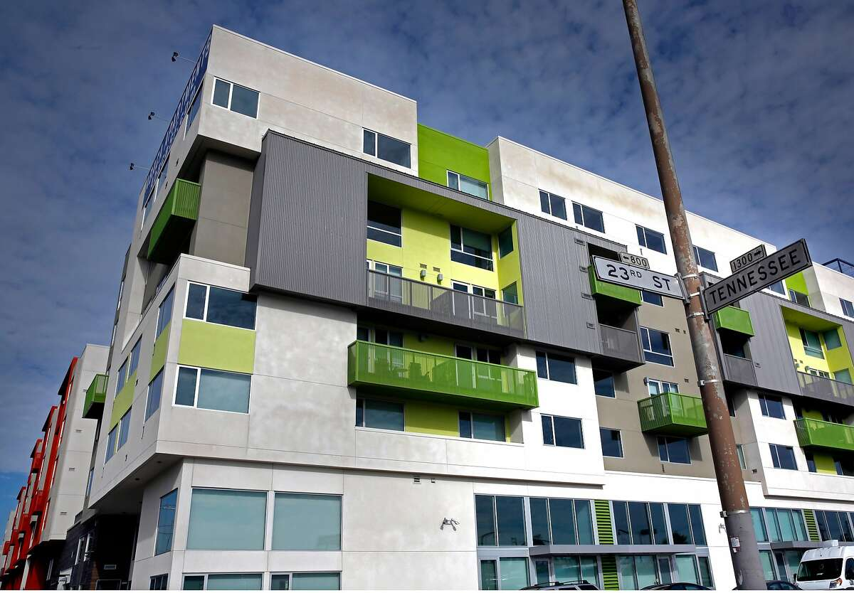 Abaca apartments at 2660 3rd st., one of a trio of large new apartment complexes in Dogpatch -- all at a scale the neighborhood hasn't before seen, and in locations that extend the geographical reach of the residential neighborhood, on Thursday, Jan. 11, 2018 in San Francisco, Calif.