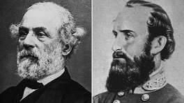 REMOVES REFERENCE OF WHEN PHOTO OF ROBERT E. LEE WAS TAKEN -- FILE -- General Robert E. Lee, left, is seen here in an undated file photo and Stonewall Jackson, is seen an undated artist drawing. For years, Virginia has marked an odd hybrid of a holiday that honored not only civil rights leader Martin Luther King Jr. but Confederate generals Robert E. Lee and Stonewall Jackson as well. Staring Friday, Jan 12, 2001, the state will celebrate a new state holiday just for the two Civil War generals. King's birthday will be noted on Monday. It means a four-day weekend for more than 100,000 state employees. (AP Photo/files)