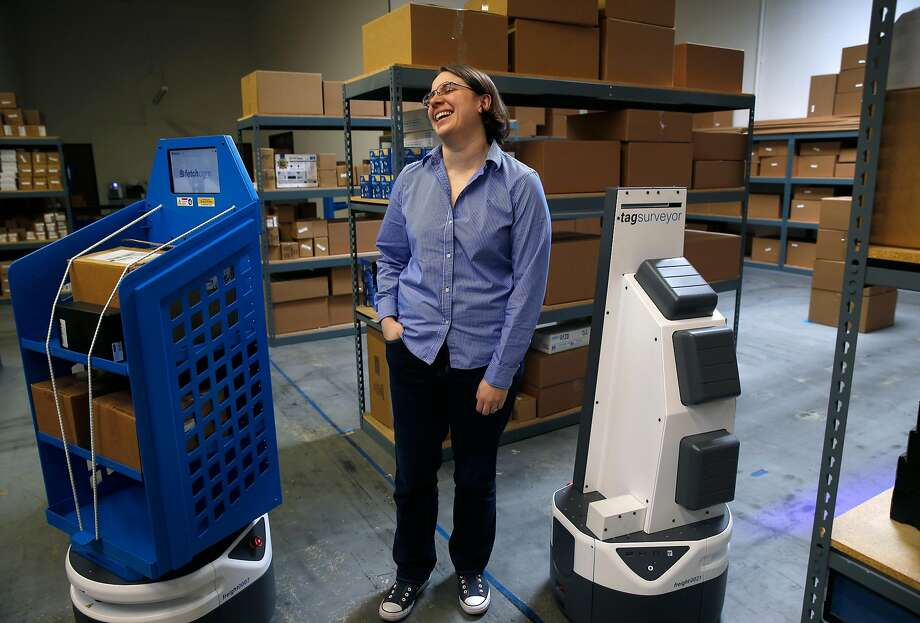 Fetch Robotics CEO Melonee Wise demonstrates autonomous mobile robots at the testing facility in San Jose. Photo: Paul Chinn, The Chronicle
