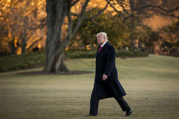 President Donald Trump arrives on the South Lawn of the White House in Washington, after a day trip to Pittsburgh, Jan. 18, 2018. Trump blew up Republican strategies to keep the government open past Friday when on Thursday morning he said a long-term extension of the popular Children's Health Insurance Program should not be part of a stopgap spending bill pending before the House. (Al Drago/The New York Times)