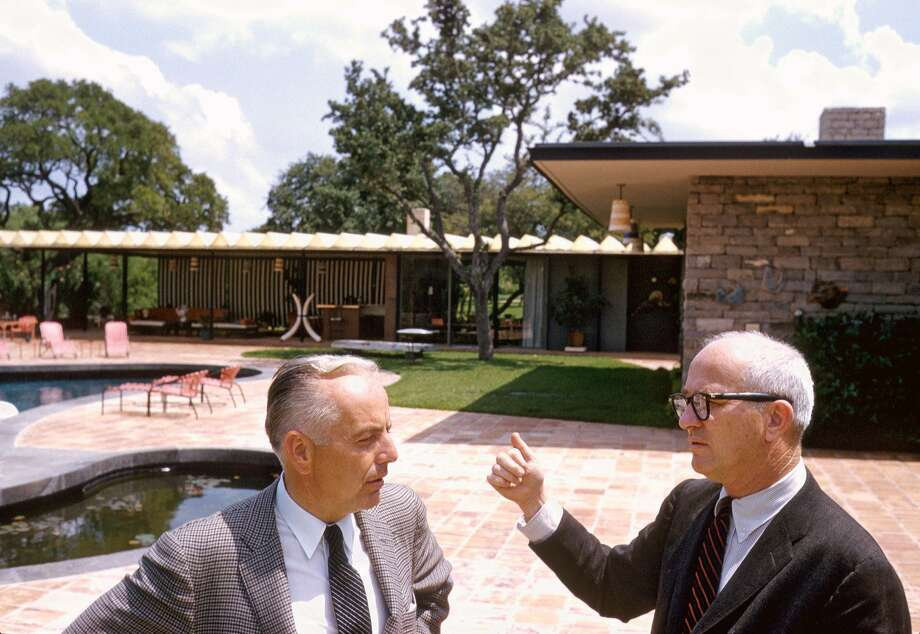 Tom Slick and architect O'Neil Ford at Slick's home, which was designed by Ford. Photo: Courtesy Roy Stevens