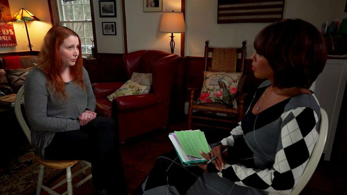 """This image released by CBS shows Dylan Farrow, left, adopted daughter of Mia Farrow and Woody Allen, during an interview airing Thursday, Jan. 18, 2018, on """"CBS This Morning."""" Farrow, now 32, recounted the 1992 incident, when she was 7 years old, in which she said Allen molested her in her mother's Connecticut home. (CBS via AP)"""