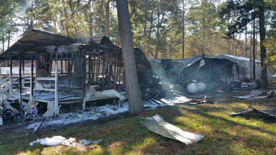 A 55-year-old man is being treated for life-threatening burns to his face and chest at Conroe Regional Medical Center after he awoke early Sunday morning to flames inside the mobile home he was housesitting. Investigators believe a space heater could be to blame for the early morning fire. (Jan. 14, 2018) Photo: Montgomery County Fire Marshal