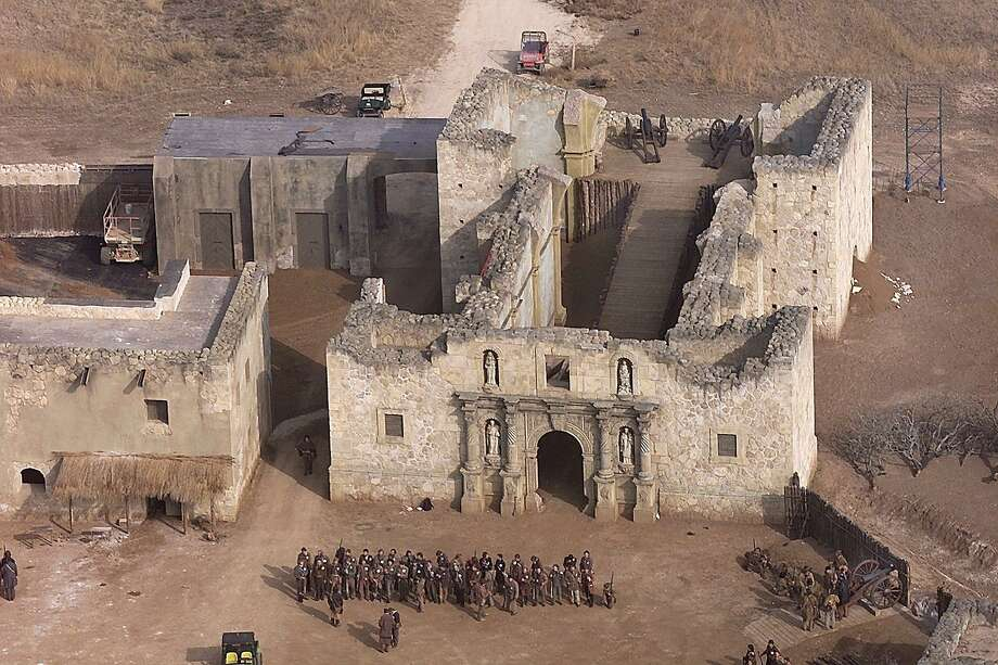 "The set near Dripping Springs of the 2004 movie, ""The Alamo,"" included a replica of the roofless Alamo church, approximately as it might have appeared in 1836. Photo: Ron T. Ennis /KRT / FORT WORTH STAR-TELEGRAM"