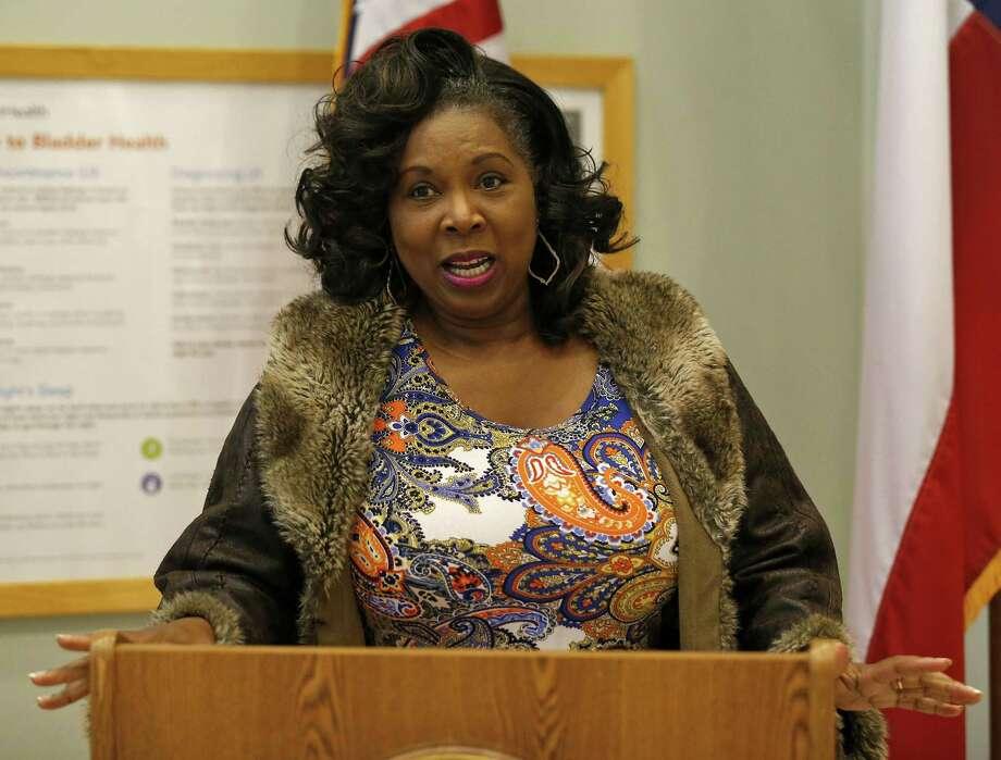 Pearsall Mayor Mary Moore speaks during the Frio Regional Hospital 55th year anniversary celebration held Thursday Jan. 18, 2018 in Pearsall, Tx. Photo: Edward A. Ornelas, Staff / San Antonio Express-News / © 2018 San Antonio Express-News