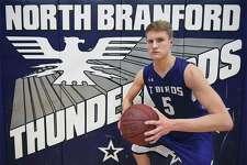 North Branford senior guard Brett LeQuire at the gymnasim at North Branford High School.