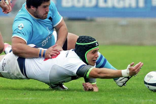 Ben Cima stretches for a loose ball for the Eagles as USA plays Uruguay in the opening match of the Americas Rugby Championship at Toyota Field on February 4, 2017.