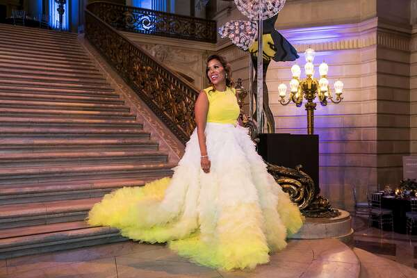 Laura Miller prepares to pose for a photo before the start of the festivities at the San Francisco Ballet Opening Night Gala at City Hall in San Francisco, Calif., on Thursday, January 18, 2018.