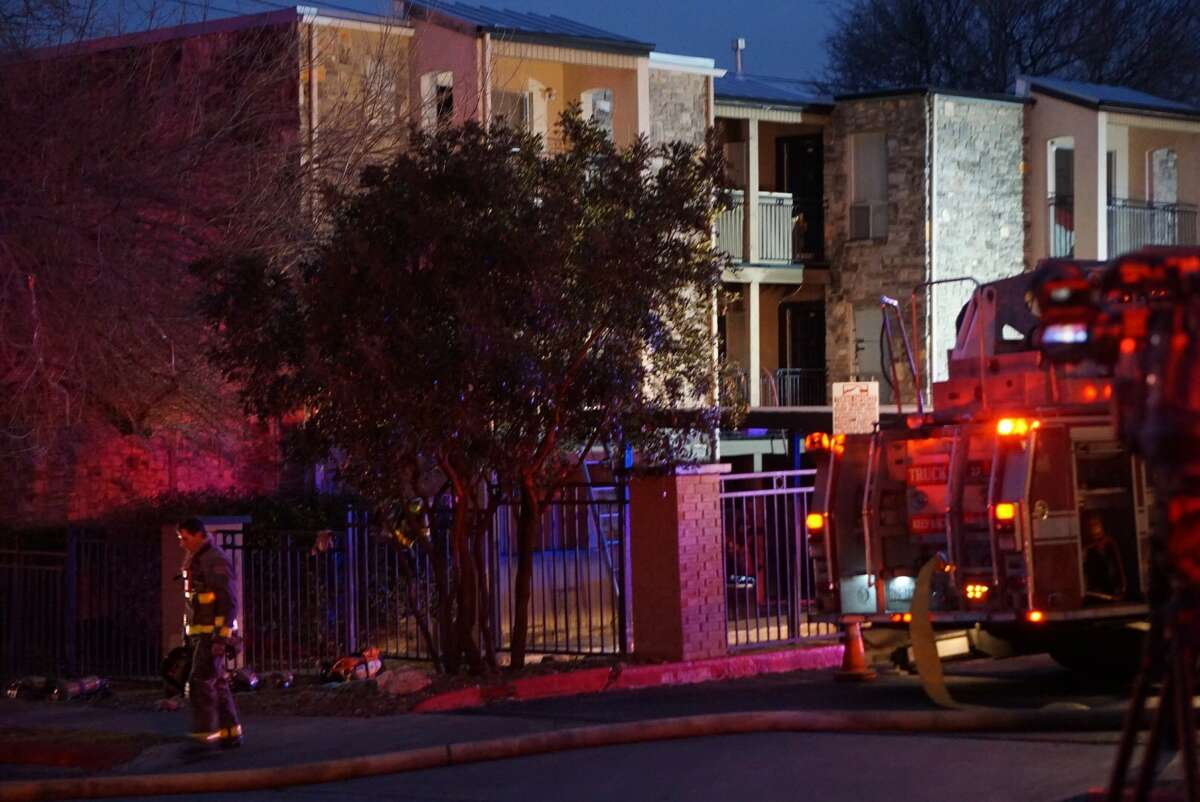 A fire displaced three families when it spread from outside into a three-story apartment complex in the 8600 block of Fairhaven Street.