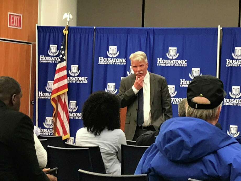 Chief State's Attorney Kevin Kane gives a crowd at Housatonic Community College information about ongoing investigations into police use of force. Photo: Tara O'Neill