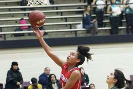 Nadia Wilson gets an uncontested layup for Antonian as her team plays Incarnate Word in girls basketball at Littleton Gym on January 18, 2018