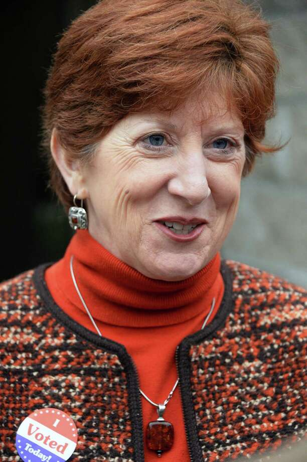 Mayor Kathy Sheehan speaks with reporters after casting her ballot at B'Nai Shalom Tuesday Nov. 7, 2017 in Albany, NY.  (John Carl D'Annibale / Times Union) Photo: John Carl D'Annibale / 20042059A