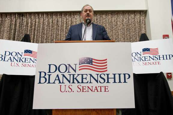 Former Massey CEO and West Virginia Republican Senatorial candidate, Don Blankenship, speaks during a town hall to kick off his campaign in Logan, W.Va., Thursday, Jan. 18, 2018. Blankenship will face two other Republican candidates in the May 8th primary. (AP Photo/Steve Helber)