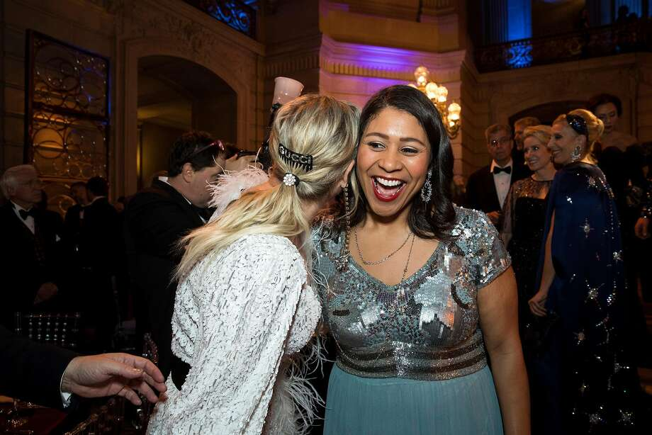 Acting Mayor of San Francisco London Breed (right) receives a hug from Sonya Molodetskaya while attending the San Francisco Ballet Opening Night Gala at City Hall in San Francisco, Calif., on Thursday, January 18, 2018. Photo: Laura Morton, Special To The Chronicle