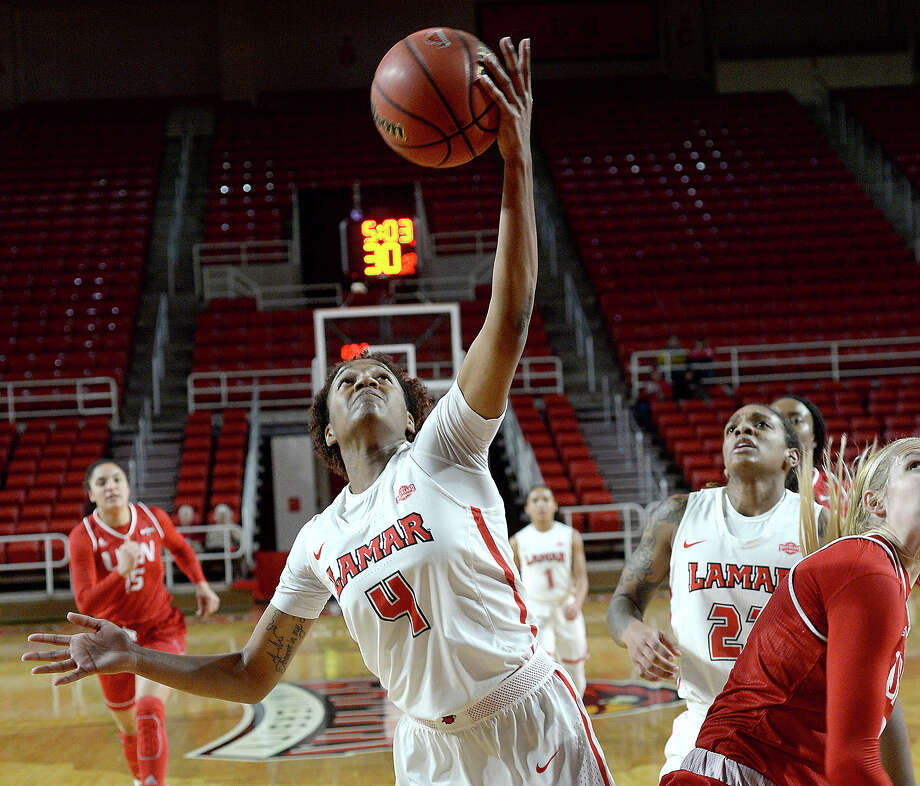 Lamar's Briana Laidler snags control of the rebound against Incarnate Word during their match-up Thursday at the Montagne Center. Photo taken Thursday, January 18, 2018 Kim Brent/The Enterprise Photo: Kim Brent / BEN