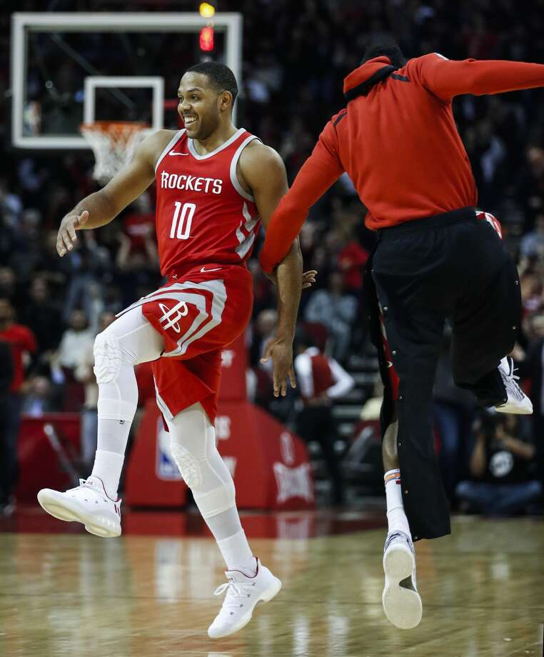 Houston Rockets guard Eric Gordon (10) and guard James Harden celebrate Gordon's last-second 3-pointer to end the third quarter against the Minnesota Timberwolves at Toyota Center on Thursday, Jan. 18, 2018, in Houston. ( Brett Coomer / Houston Chronicle ) Photo: Brett Coomer/Houston Chronicle