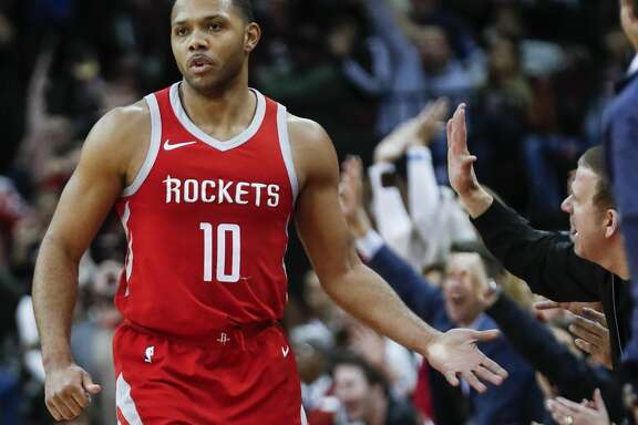 Houston Rockets guard Eric Gordon (10) high fives owner Tilman Fertitta as they celebrate Gordon's last-second 3-pointer to end the third quarter against the Minnesota Timberwolves at Toyota Center on Thursday, Jan. 18, 2018, in Houston. ( Brett Coomer / Houston Chronicle )
