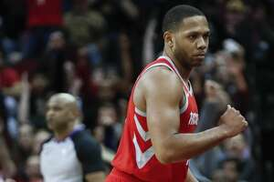 Houston Rockets guard Eric Gordon (10) pumps his fist after making a last-second 3-pointer to end the third quarter against the Minnesota Timberwolves at Toyota Center on Thursday, Jan. 18, 2018, in Houston. ( Brett Coomer / Houston Chronicle )