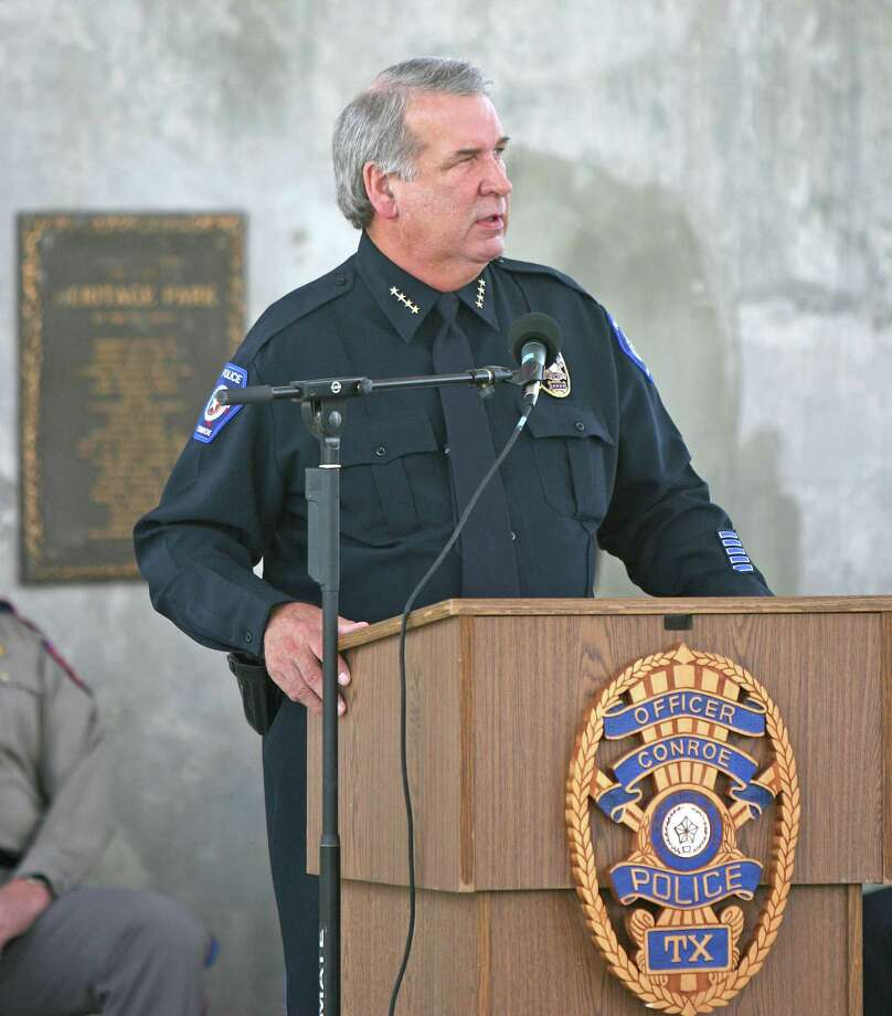 Conroe Police Chief Charlie Ray speaks during the National Police Week memorial Thursday at Heritage Place Park in downtown Conroe. Photo: Eric S. Swist, STF / Staff photo by Eric S. Swist