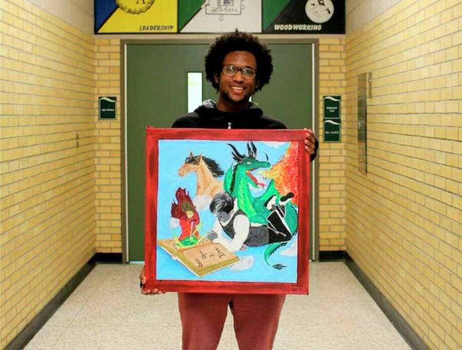 Laker senior Grady VanTifflin displays some of his artwork. VanTifflin was namedSubway Lakers Artist of the Month for January. (Submitted Photo)